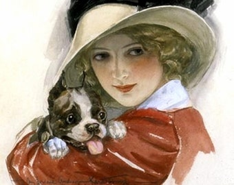 """11x14"""" Cotton Canvas Print, Girl in Red with Puppy, 1920s, Canine, Pet"""