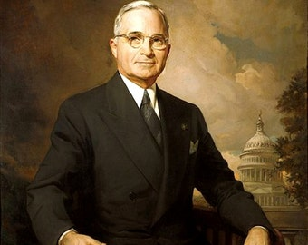 "Portrait of Harry Truman, 1945, 33rd President, Politics, Government 11x14"" Cotton Canvas Print"