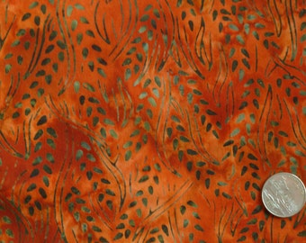 SALE! 15% OFF Hand Dyed Batik - Red and Green Leaves