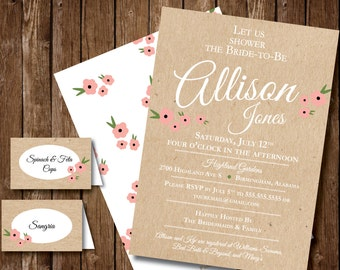 Floral Vintage Bridal Invitation