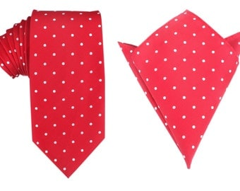 Matching Necktie + Pocket Square Combo Red with White Polka Dots (X324-T85+PS) Men's Handkerchief + Neck Tie 8.5cm Ties Neckties Wedding