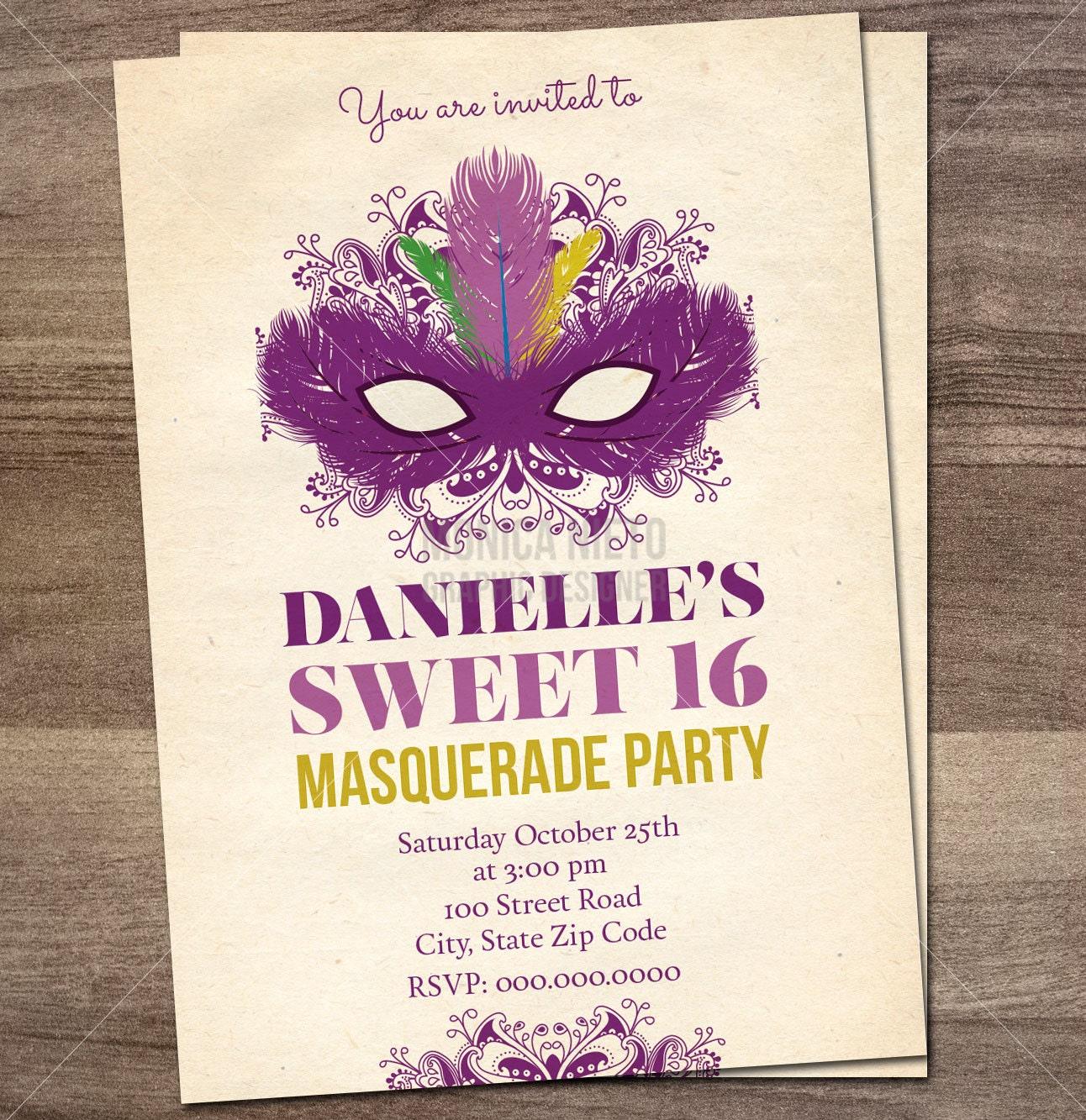 Printable Sweet 16 Masquerade Birthday Party Invitation/ Mardi