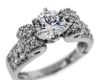 1.70 Cttw Round Diamonds Solitaire with Accents Engagement Ring in 14K White Gold