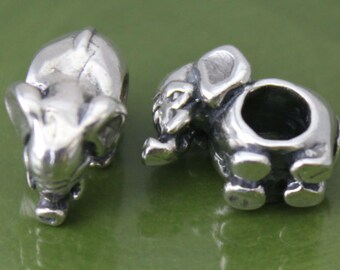 Sterling Silver Tiny Elephant European Spacer Bead, 3.8mm Hole, Charm Findings, Spacer Bead for Bracelet