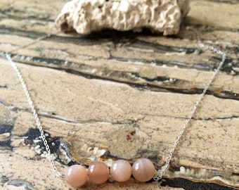 Sterling Silver Peach Moonstone bar necklace.