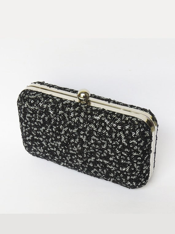 sequins black box clutch bag black silver by ithinkfashion. Black Bedroom Furniture Sets. Home Design Ideas