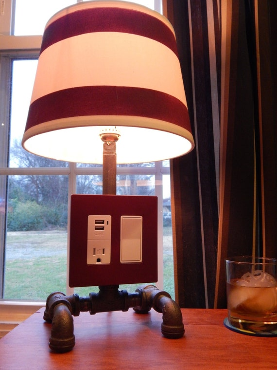 custom lamp with usb and edison outlet by nightcapstudio on etsy. Black Bedroom Furniture Sets. Home Design Ideas