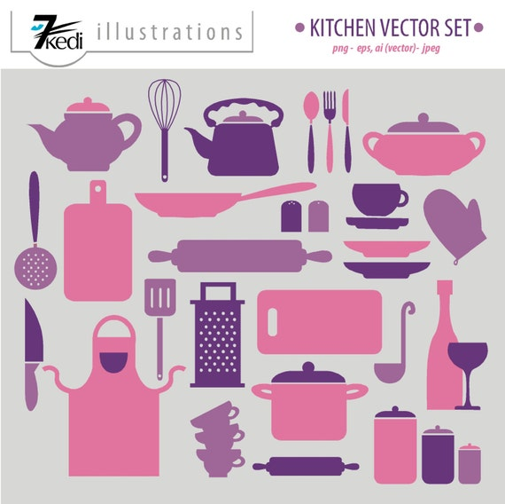 Items Similar To Kitchen Set, Kitchen Clip Art, Vector