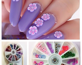 Rhinestone & Fimo Flower Nail Supplies Art Wheels Set