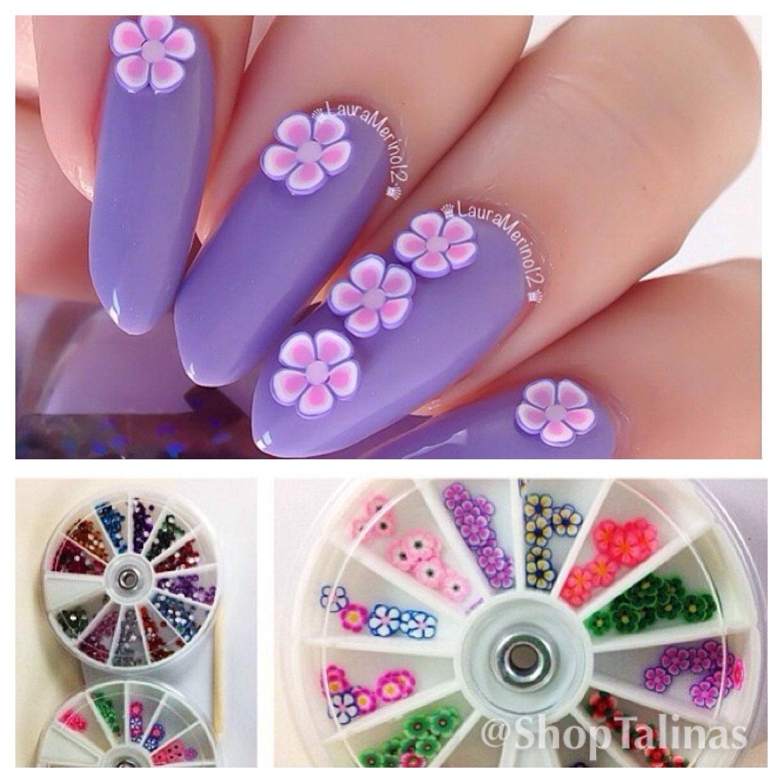 Nail Art Accessories Bd: Rhinestone & Fimo Flower Nail Supplies Art Wheels Set