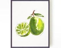 Lime watercolor print, Art for kitchen, Green lemon print, Fruit illustration, Kitchen decor, Green fruit, Spring decor BUY 2 GET 1 FREE