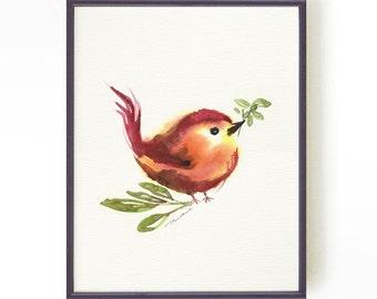 Bird watercolor painting, Tiny bird art print, Nursery art print, Gift for Bird lover, Bird illustration, Apartment decor Buy 2 Get 1 Free