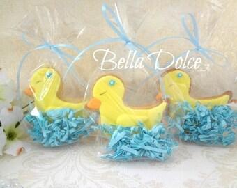 Sweet Baby Duck Cookies - 1 Dozen (12) Baby Shower Favor - Birthday Gift