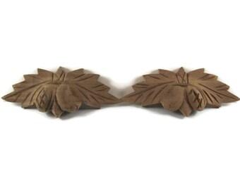 Vintage 1980's 1990 wood   Hand Carved Walnut Acorn Oak Leaf Design Pull   2014881 - 55