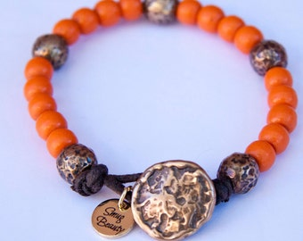 Pumpkin Patch Bracelet - vintage orange african trade beads and bronze