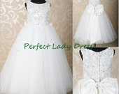 QQ024 fully lace flower girl dress with bow back,white first communion gown,cheap custom communion dress