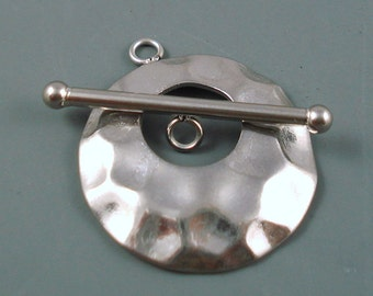 Stainless Steel Toggle Clasp,  Large Hammered Clasp, 24MM Round Toggle Clasp