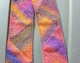 knit scarf, Triangle scarf (Popsicle), winter scarf. Handcrafted scarf
