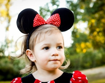 10  Minnie Mouse easr Headband with red polka dot bow  MInnie Only