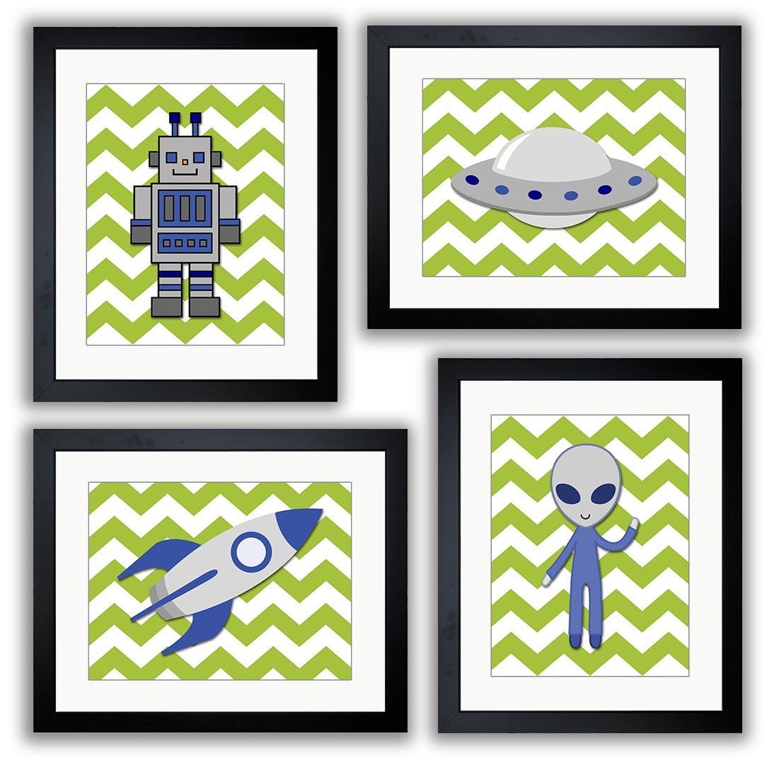 Space Art Child Art Prints Green Alien Spaceship Rocket Robot Boy Kids Room Wall Art Decor Set of 4