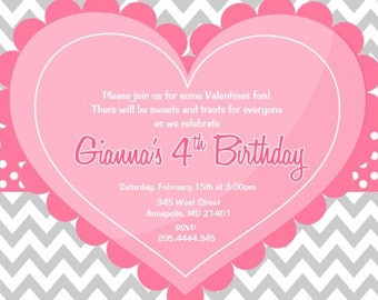 Valentines Day  Sweetheart Birthday, Baby Shower, Invitation Printable
