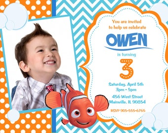 Finding Nemo Birthday Party Invitation Digital File