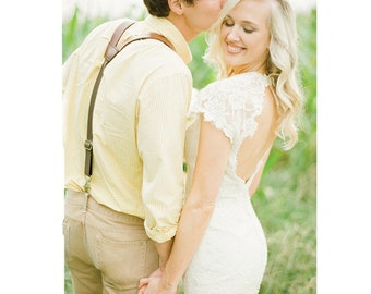 Leather Suspenders as seen in Southern Weddings Magazine