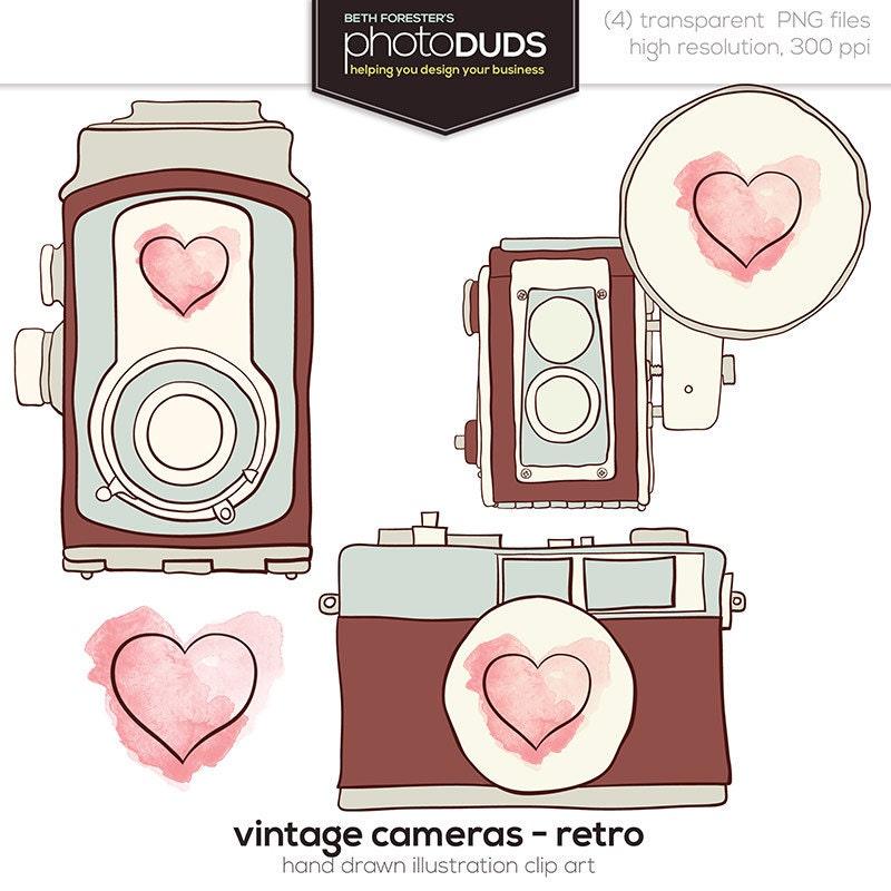 VINTAGE CAMERAS RETRO Digital Embellishments Clip by photoDUDS