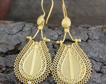 Statement Gold Earrings - Large Gold Dangle Earrings - Gold Drops - Boho Earrings - Long Earrings - Unique Earrings - Filigree Earrings