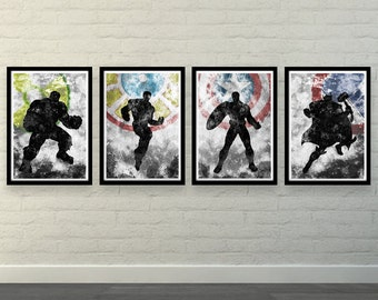 "Minimalist The Avengers - Iron Man, Captain America, Thor, Hulk  4 X A3 posters (each one 42 x 29,7 cm / 16,5"""" x 11,7'')"