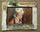 Custom New Baby Woodland Birch Bark Picture Frame