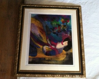 "Linda Le Kinff's ""Annabella"" Hand Signed Seriolithograph Professionally Framed and Matted Limited Edition"