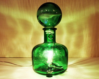 Green glass. Table lamp. Recycled glass bottle. Desk lamp #OOAK #gift