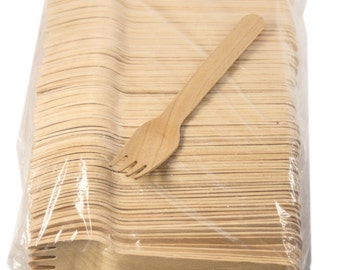 "100 ct  5 1/2"""" Wood Cutlery Forks with longer prongs"
