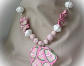 Pink, green, white Lily Pulitser look pendant and beads necklace set
