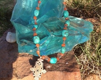 Vintage Ethiopian Cross Necklace with Turquoise and Carnelian