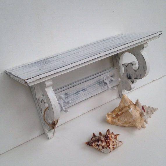 Shabby Chic White Shelf With Two Hooks Bathroom Nursery Shelf