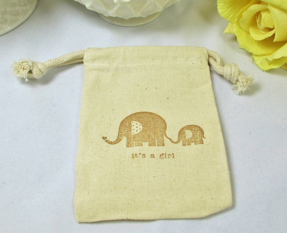favor bags muslin girl baby shower favors elephant shower favor bags