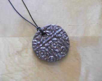 Handmade necklace - vintage re-purposed brown ceramic pendant