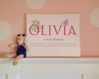 Flash Sale*- OLIVIA Name Art Canvas with Name Meaning and Scripture Verse, 16x20 - wall art baby name meaning