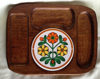 Vintage Wooden and Tile Cheese Board Serving Tray by HIMARK Japan