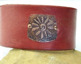 Leather cuff bracelet unique handmade jewelry