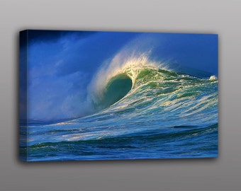 Surf Photography - Waimea Bay Wave Photo Canvas Print Wall Art Home Decor - Free Shipping