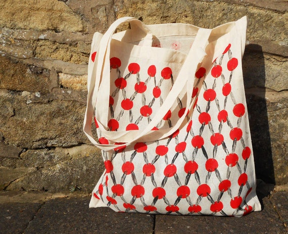 Hand-stamped Spot & Line Tote Bag - Red Black - Natural Cotton Polka Dot Line Stripes