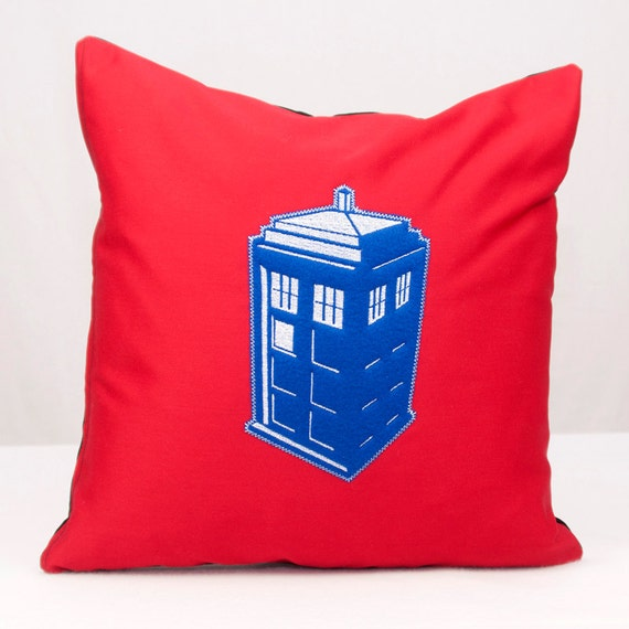 Doctor Who Tardis Applique on Red Twill Pillow 16x16