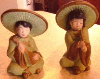 Pair of Oriental  Figurines Boy & Girl - 1950's