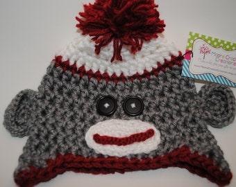 Chunky Crochet Sock Monkey Hat