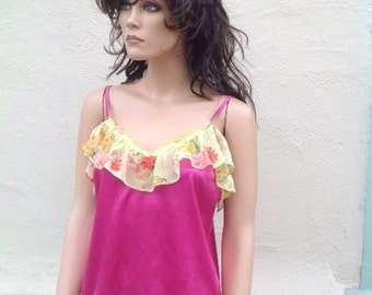 one -off fuschia pink silk  top finished with 1920's  yellow flowery silk frill