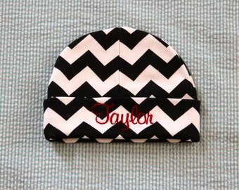 Personalized Chevron Baby Beanie - Hat - Embroidered - Baby Cap - Custom - Girl - Boy - Name
