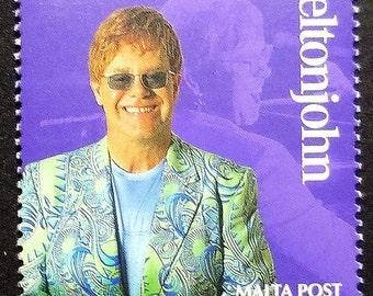 Elton John Malta Music -Handmade Framed Postage Stamp Art 16385